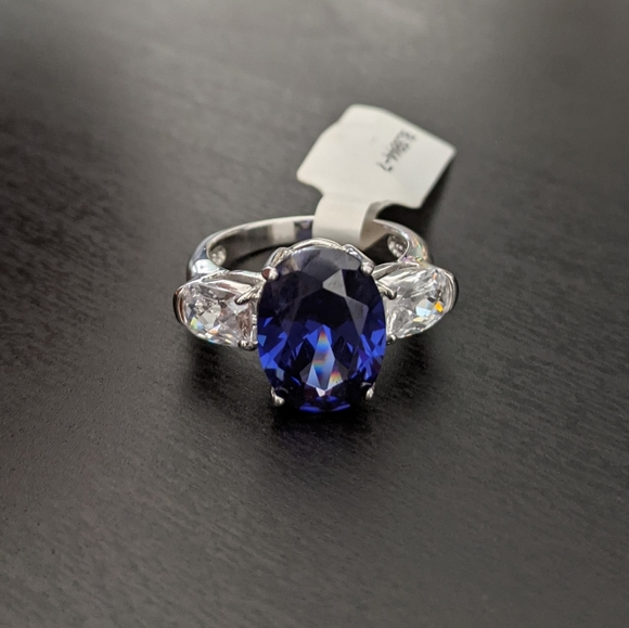 Bella Luce Sapphire Cubic Zirconia Silver Ring